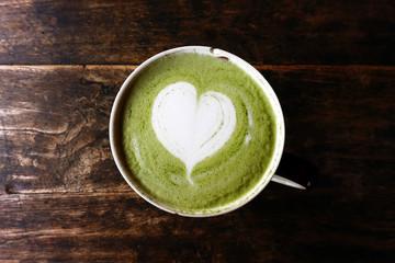A cup of green tea matcha latte