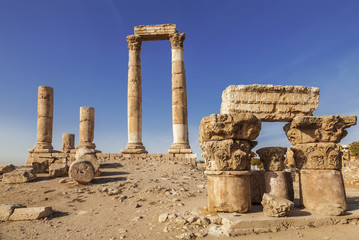 Ruins of the temple of Hercules in the ancient citadel, Amman, Jordan