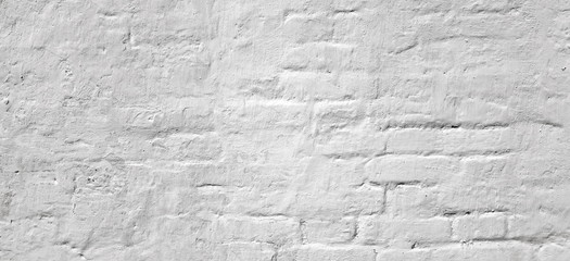 White Washed  Vintage Brick Wall With  Shabby Plaster Background