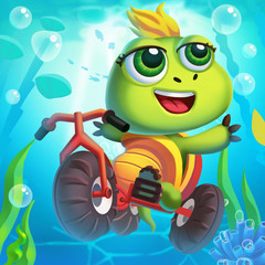 The Little Turtle Rides a Bicycle Underwater! Video Game's Digital CG Artwork, Concept Illustration, Realistic Cartoon Style Background and Character Design