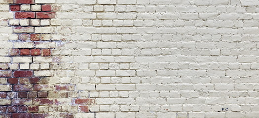 Foto op Canvas Graffiti Vintage Wide Old Red White Brick Wall Texture Background