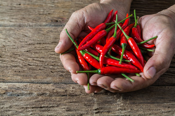 Red hot chili pepper in hand of old man on rustic wood table