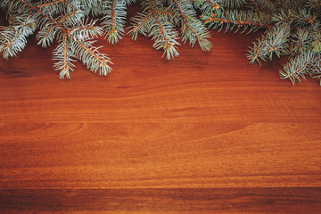 Christmas tree branches on wood background. Space for text