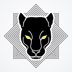 Black Panther Head designed on line square background graphic vector.