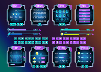 Game UI Space Graphical User Interface Set. Vector