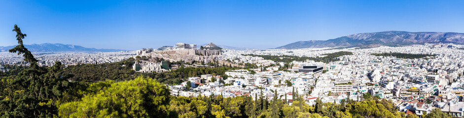 Athens, Greece, panorama view over the city and the Acropolis from Lycabettus hill