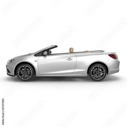 cabriolet isolated on white. 3D illustration