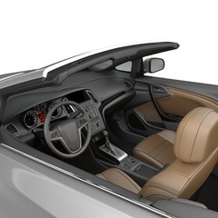 convertible sports car interior isolated on a white background. 3D illustration