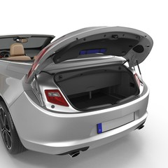 convertible sports clean empty trunk isolated on a white. 3D illustration