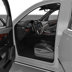 SUV interior isolated on a white. 3D illustration