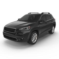 Black Sports Utility Vehicle Isolated on White. 3D illustration