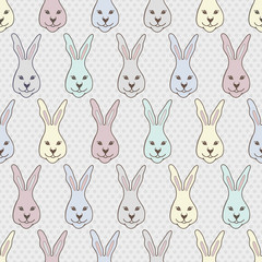 Seamless pattern with cute rabbit. Vector background