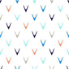 Vector silhouette of deer. Seamless texture