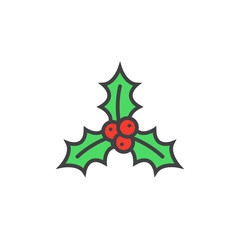 Christmas holly berries line icon, filled outline vector sign, linear colorful pictogram isolated on white. logo illustration