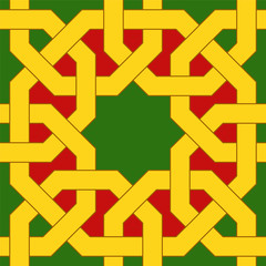 Islamic geometric pattern. Muslim mosaic. Oriental seamless ornaments based on traditional arabic art. Colorful vector illustration. Green, red and yellow arabian tile. Mosque decoration element.