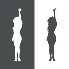 Icono plano silueta mujer sexy gris y blanco