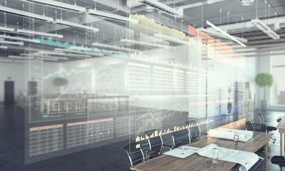 Modern office interior . Mixed media