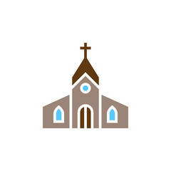 Church building icon vector, filled flat sign, solid colorful pictogram isolated on white, logo illustration