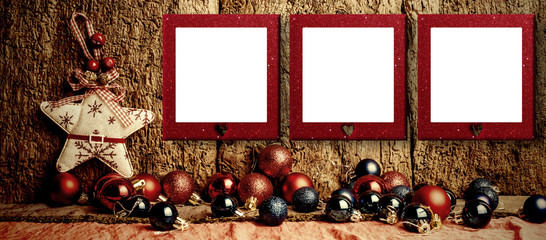 Christmas rustic decoration background.Copyspace.
