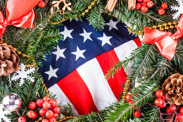 American flag and christmas tree.