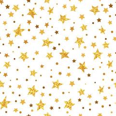 Golden glittering stars seamless pattern. Vector sparkling background.