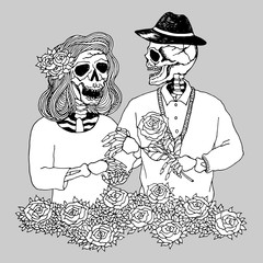 lover couple sugar skull day of the dead, vector hand drawn design illustration