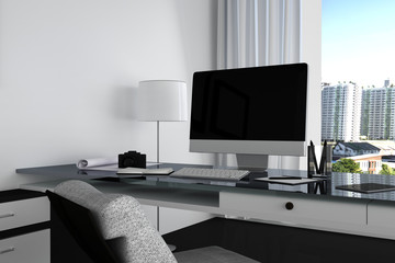 3D Rendering : illustration close up of Creative designer office desktop with blank computer,keyboard,camera,lamp and other items on background with window and city view. Mock up