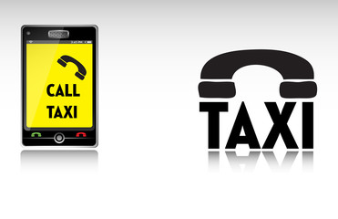 Colorful illustration with a smartphone and the text call taxi written on its screen
