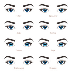 Types of eye makeup. Eyeliner shape tutorial. Illustration of eyebrow line make up isolated on white background. Set of illustrations with captions. Beauty article, magazine, book.