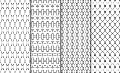 Collection of simple linear black and white geometric pattern textures. Set of 4 backgrounds. Seamless repeating retro style texture set.