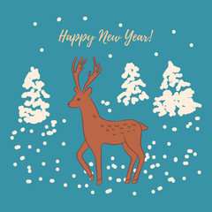 Beautiful design Happy New Year greeting card/Deer on the background of fir trees and snowy winter forest. Reindeer drawing. Vintage, elegant style