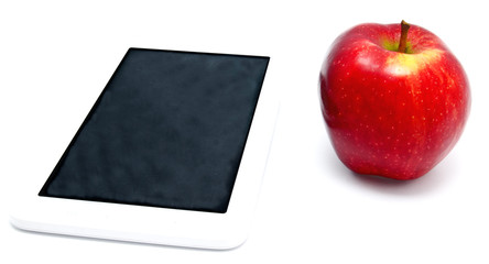red apple and tablet PC isolated
