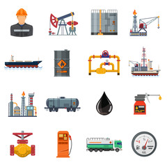 Oil industry Flat Icons Set