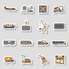 Cargo Transport and Packaging two color sticker set
