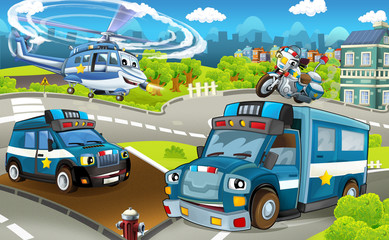 Cartoon stage with different police machines - trucks motorbike and helicopter - colorful and cheerful scene - illustration for children