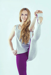 young girl practicing yoga, keep high pace,in sportswear