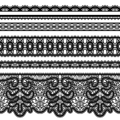 Realistic lace borders on white