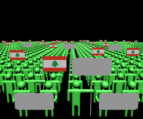 Crowd of people with signs and Lebanese flags illustration