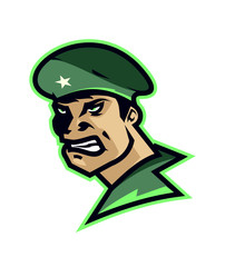 Logo soldier, infantryman. Badge, emblem for the sports club. Hockey, football, basketball logo. Green color. Angry, the brave soldiers.