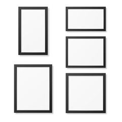 Realistic blank picture frame templates set isolated on white background.