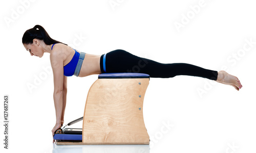 woman fitness pilates exercices isolated immagini e fotografie royalty free su. Black Bedroom Furniture Sets. Home Design Ideas