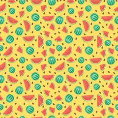Fruits watermelon seamless patterns vector