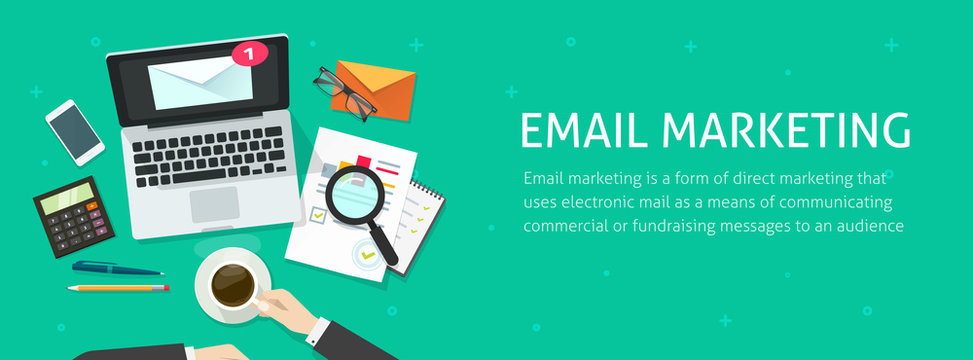 Email marketing banner vector illustration, auditor person working on workdesk with laptop, envelope, email analyzing or inspecting newsletter campaign data, analytic table top view, promotion design