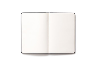 Blank open notepad isolated on white background
