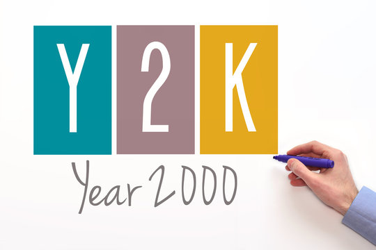 Y2K. Year 2000 sign on white background