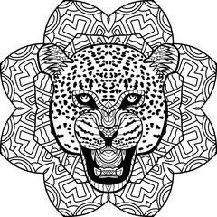 Stern Jaguar on a background of a circular mandala pattern. Coloring antistress page book. Element for your design.