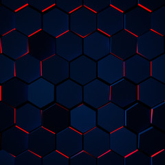 Dark Glowing Hexagon Background