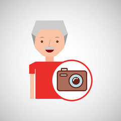 old man fathers day gift camera vector illustration eps 10
