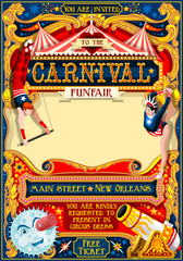 Circus juggler show Retro Template. Cartoon Poster Invite. Kids game Birthday Party Insight. Carnival festival Background Juggling Acrobatic Cabaret Vintage vector background. Acrobat Clown theme.