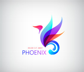 Phoenix colorful brand, animal logo, hotel fashion concept.
